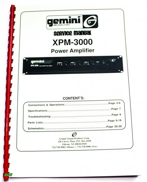 Gemini Amplifier XPM-3000 / Service-Manual